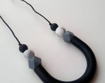 Natasha U-Shaped Necklace. Silicone Teething and Nursing Necklace