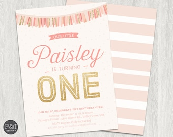 First Birthday Invitation | Pink and Gold Glitter | Fun Girl's Birthday Party Invitation/ Any Age/DIY/ Customized Printable