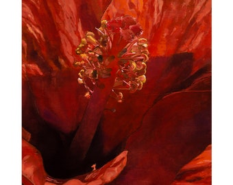 Original Painting | Floral Art Painting | Flower Painting | Wall Art | Deep Orange Hibiscus Blossom