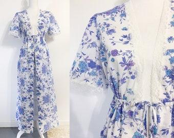 Floral Cotton & Lace Robe / House Dress