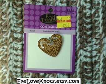 DESTASH - Large Cheetah Print Heart Glass Pendant - Ready to Ship