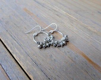 Golden Pyrite Fringe Sterling Silver Hoop Earrings