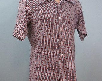 1970s Novelty Print Shirt . Vintage Men's Bow Ties & Stripes Button Front Shirt . Navy Stripes Orange Bows . L