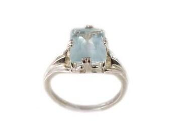 Seawater Blue Aquamarine Ring Antique Gemstone 3ct Pastel Blue Aquamarine Emerald Cut Ancient Greek Mariner Talisman Silver Jewelry #26663