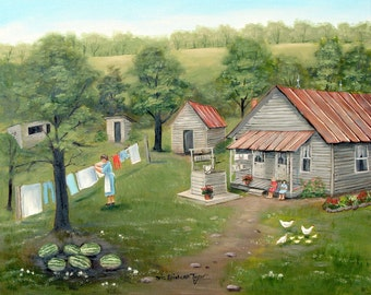 Laundry Day, Country Memories, Old House, Chickens, Clothes Line, Washing, Sisters, Outhouse, Watermelons, Folk Art, Arie Reinhardt Taylor
