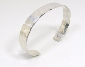 Silver Cuff Bracelet, Solid Pure Silver Hammered Design Bracelet, Fine Silver Bracelet, 999FS Silver Cuff Bracelet