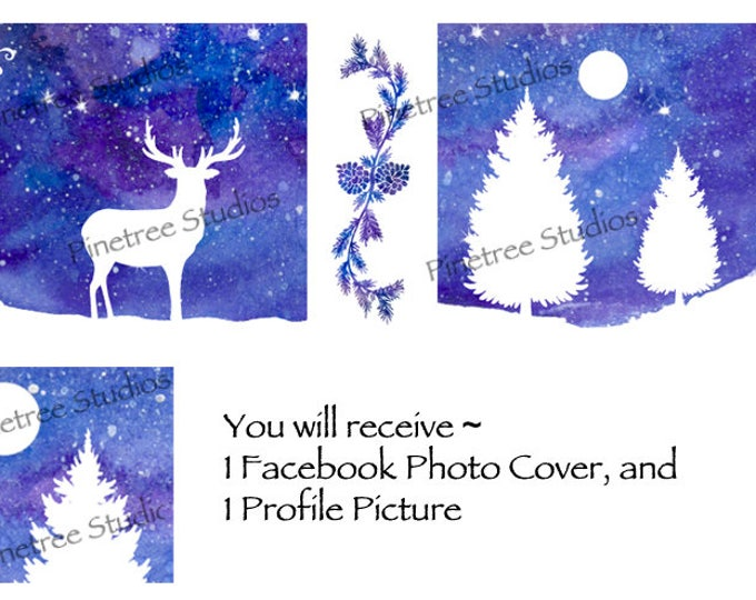 White Silhoutte Deer ~ Facebook Blank Cover Photo and Profile Picture