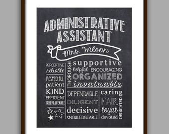 Administrative Assistant Gift, Secretary  Chalkboard Style Printable, Secretary Christmas Gift,  Secretary Thank You