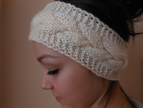 Knit cable headband ear warmer head warmer cream dt1010fo