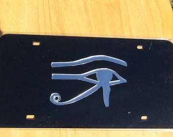 Eye of Horus Egypt Mirrored Acrylic Laser Cut License Plate