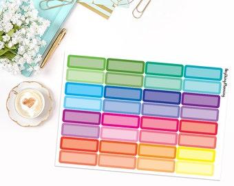 32 Multicolour Quarter Boxes   Erin Condren Vertical Life Planner Stickers
