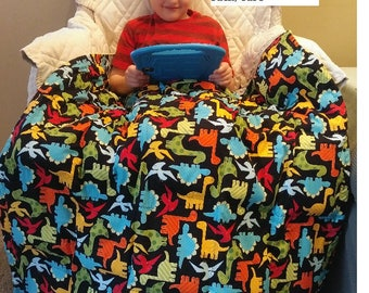 Dinosaur Weighted Blanket 100%  Cotton Print  with Minky, Flannel, or Cotton Bottom and matching PIllow sack