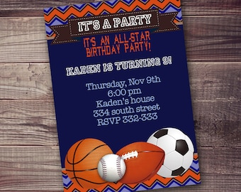 FAST ship, Sports Invitation, all-star party invitation, FREE customization on party details and wording, baseball, basketball, soccer