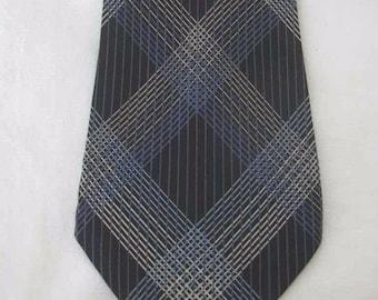 Sulka & Company Navy Blue Intersecting Lines Graphic Motif Silk Neck Tie