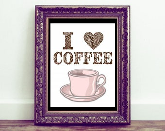 """Sale """"I love coffee"""" beans pink cup mug printable wall art kitchen decoration new home quotes but first coffee housewarming gift simple cute"""