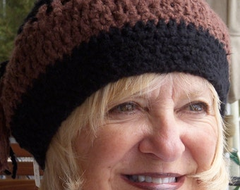Black and brown crochet hat, women's winter hat, uniquely created, cute winter hat, women's fashion with style, Bohemian accessories