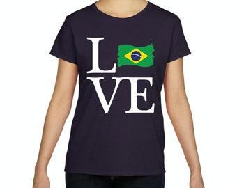 Love Brazil  Women Shirts T-Shirt Tee