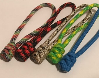 Custom Paracord Snake Knot Zipper Pulls 5-Pack
