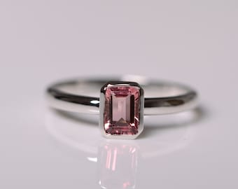 Natural Pink Tourmaline Ring Sterling Silver Red Tourmaline Ring Fine Jewelry October Birthstone Ring Tourmaline Jewelry Engagement
