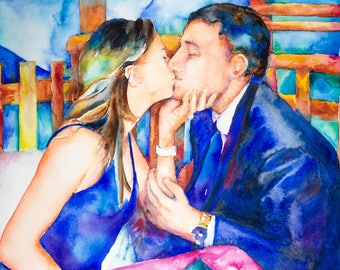 "Original watercolor painting from photo -  22"" x 30"" sofa size painting - engagement portrait,  watercolor wedding portrait"