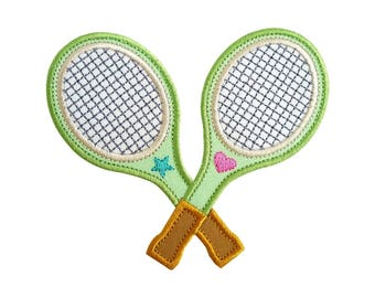 "Tennis Racquets Rackets Crossed Appliques Machine Embroidery Design Applique Pattern 2 variations in 4 sizes each 4"", 5"", 6"" and 7"""