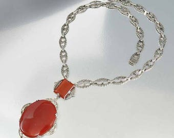 Marcasite Carnelian Art Deco Necklace | Vintage Sterling Silver Marcasite Necklace | Antique Chalcedony Necklace | Fine Jewelry