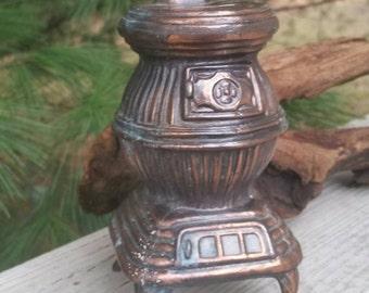 Vintage Brass Pot Belly Stove Bank