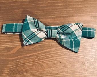 Teal plaid boys bow tie