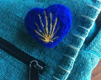 Camino Shell Pin - Felted Wool Heart-Shaped Pin of Scallop Symbol for Medieval Pilgrimage Trek through Spain