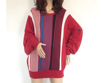 Vintage Knitted Jumper Retro Pringle Sweater Knit Top Striped Zig Zag Kitsch Athletic Mod 1950s 50s 1960s 60s 1970s 70s 1980s 80s 1990s 90s