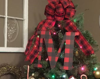 """Decorative 9"""" Black and Red Buffalo plaid Monogram Christmas Tree Topper, Letter Wreath, Initial, Wedding Decor, Holiday Decor, Front Door"""