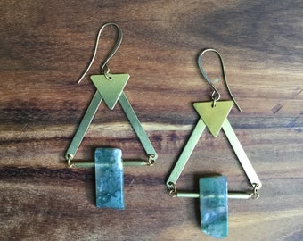 Moss agate and brass triangle earrings