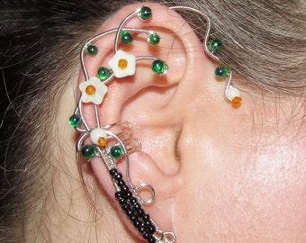 Earth Elemental ear cuff, ear jewelry for fantasy lovers, Elemental jewelry, earth magic, dryad ear cuff, no piercing earring, wire ear cuff