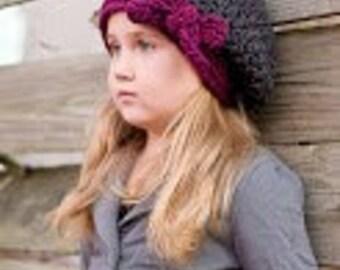 "Slouchy Beret Crocheted ""The Ava"" Flint Grey, Plum  Photo Prop Hat"