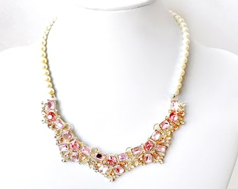 Necklace - Blush Pink and Gold Rhinestone Bib Necklace - Ivory or White Pearls - Vintage Style - Rose Pink Gold Statement Bridal Necklace