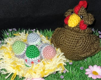 Easter and its nest made crochet hen