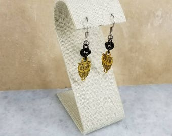 Chainmaille Earrings - Black with Gold Owl Charms