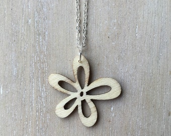 SALE - 50% - Short silver necklace with laser cut wooden flower charm