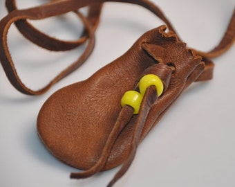 """eb3111 Leather Pouch Medicine Bag Necklace 15"""" Drop Excluding the Bag Itself"""