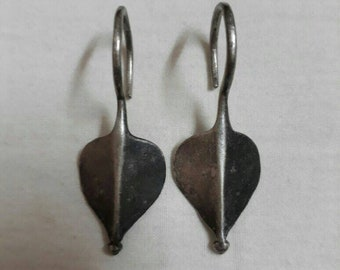 Handmade Vintage 1970s Earring. 92.5 Sterling Silver Rajasthan Tribal Banjara Earring.
