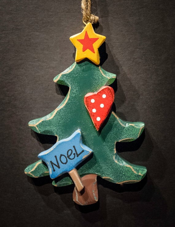 Wooden Noel Christmas Tree Holiday Ornament