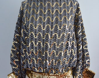 Vintage 70s GLAM Sequined and Beaded BATWING DISCO Top Blouse Metallic Black & Gold