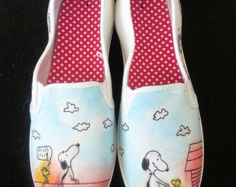 The Peanuts Gang Snoopy, Charlie Brown, Lucy, etc Custom Made Shoes