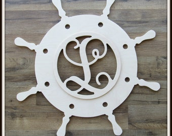 """Ships Wheel Door Hanger with Monogram Letter - Unpainted Wood - 22"""" size - Nautical Decor- Helm - Family - Home Decor - Wall Hanging"""