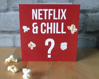 Netflix and Chill ? - Greeting Card, Typography, Bold, Popcorn