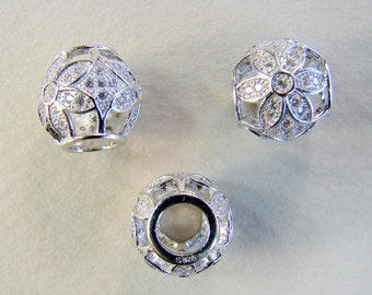 925 Sterling Silver European Beads, Rondelle, micro pave cubic zirconia , 11x11mm, Hole:Approx 5mm (BD-A152)