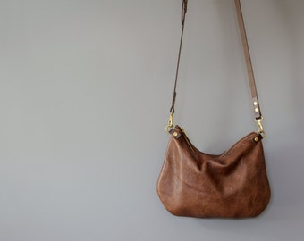 minimalist leather crossbody bag - ISLA - Walnut Brown adjustable leather strap shoulder purse - optional leather tassel by holm goods