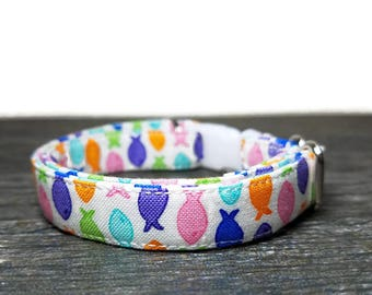 Cat Collar, Small Fish Cat Collar, Multi-Color Cat Collars, Rainbow Cat Collars, Cotton Cat Collar, Cat Collars, Kitty Collar, Kitten Collar