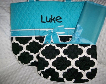 PERSONALIZED 3 Piece Diaper Bag Set with Name - Baby Boy Blue Geometric Print Personalized Diaper Bag, Zipper Pouch, and Changing Pad