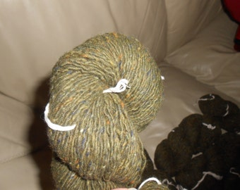 Heathered Olive Green - Wool Blend - 1045 yards - Sport weight - Recycled, Reclaimed, Upcycled